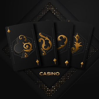 Illustrazione vettoriale su un tema di casinò con simboli di poker e carte da poker su sfondo scuro.