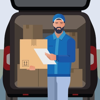 Illustrazione vettoriale sul tema della consegna con l'immagine di un uomo di consegna barbuto.