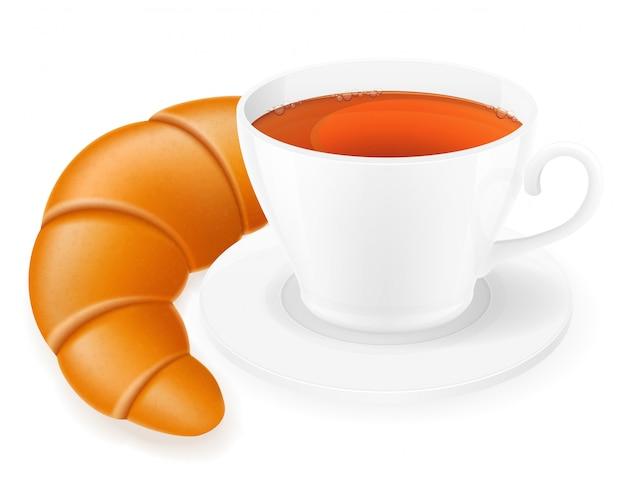 Illustrazione vettoriale tazza di porcellana e croissant