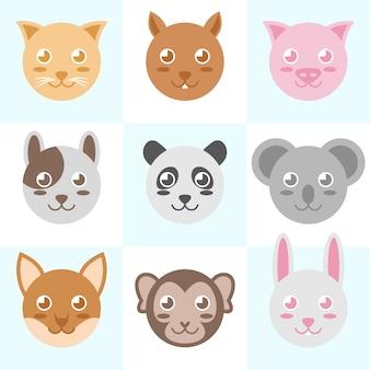 Illustrazione vettoriale testa di animale carino cerchio