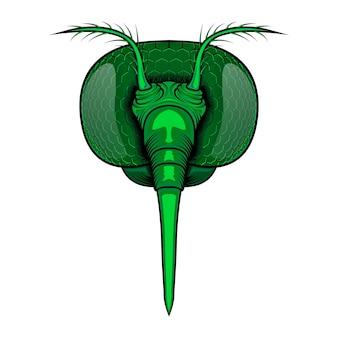 Illustrazione vettoriale testa di zanzara