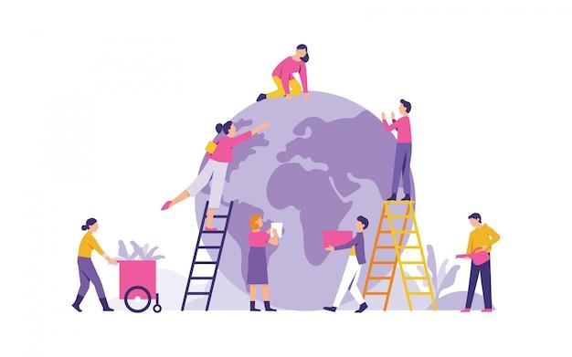 Illustrazione vettoriale un gruppo di persone si prepara per celebrare la giornata della terra