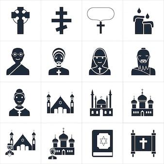 Illustrazione vettoriale vettoriale icone religiose
