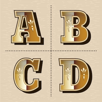 Illustrazione vettoriale vintage lettere dell'alfabeto occidentale font design (a, b, c, d)
