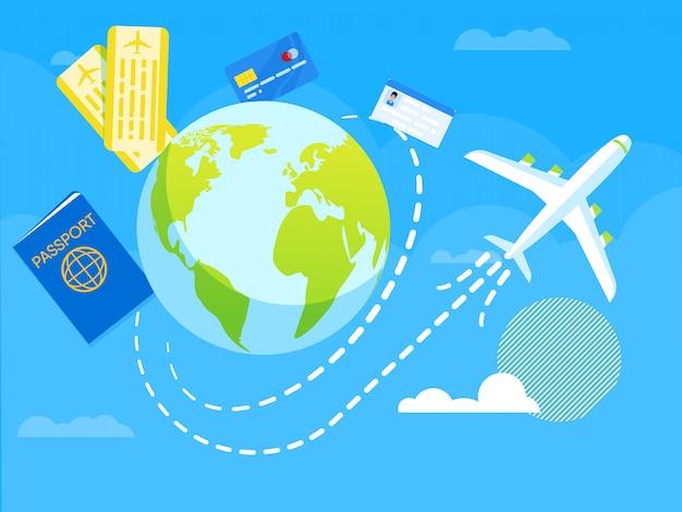 Illustrazione vettoriale volo intorno al mondo piatto.