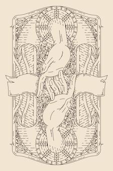 Illustrazione vintage a due mani