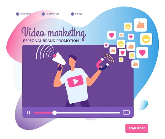 Illustrazione virale di video marketing