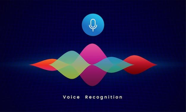 Illustrazione visiva di vettore di concetto di tecnologia moderna dell'assistente personale di riconoscimento vocale ai