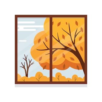Illustrazione vista autunnale dalla finestra