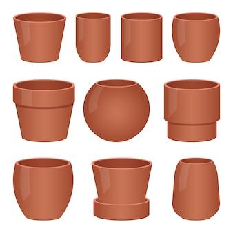 Illustrazione vuota di progettazione del vaso di fiore isolata su fondo bianco