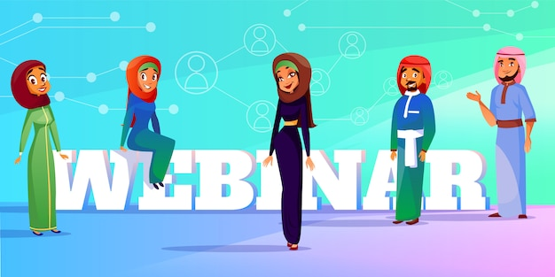 Illustrazione webinar musulmana di altoparlanti conferenza o seminario web.