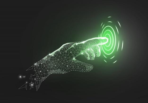Illustrazione wireframe toccare il futuro