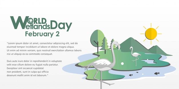 Illustrazione world wetlands day with flamingo