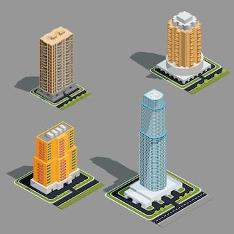 Illustrazioni 3d isometrica vettoriale di moderni edifici urbani
