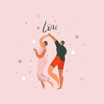 Illustrazioni astratte moderne disegnate a mano di concetto di giorno di biglietti di s. valentino del fumetto astratto disegnato a mano con la gente delle coppie di dancing insieme e testo di amore isolato su fondo pastello