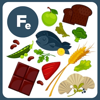 Illustrazioni cibo con fe minerale.