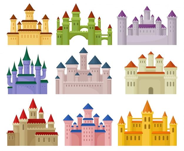 Illustrazioni colorate in stile su sfondo bianco.