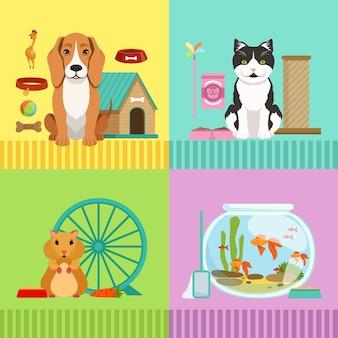 Illustrazioni concettuali di diversi animali domestici. cane, gatto, criceto e pesci.