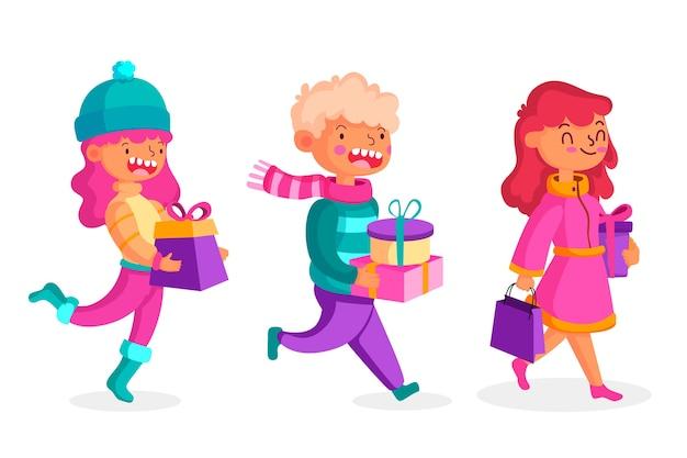 Illustrazioni d'acquisto dei regali di natale della gente messe