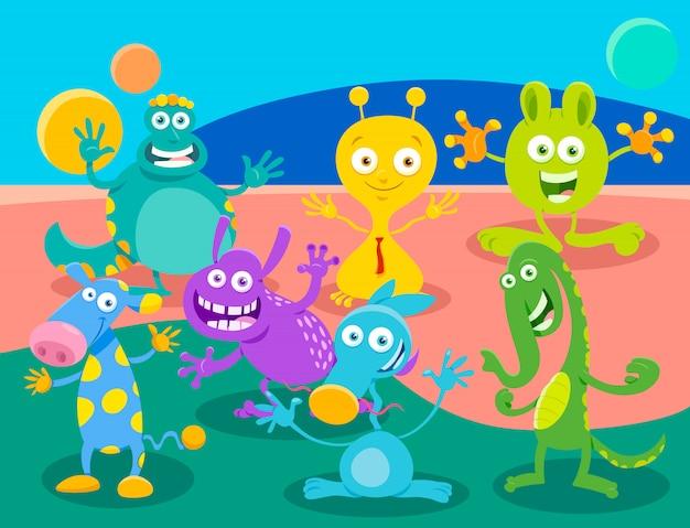Illustrazioni del fumetto di mostri o gruppo di alieni