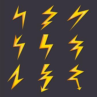 Illustrazioni del fumetto di vettore dell'insieme del fulmine isolato
