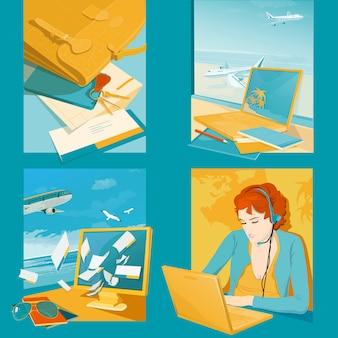 Illustrazioni di agenzie di viaggio