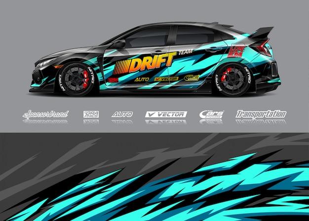 Illustrazioni di avvolgimento per auto da corsa