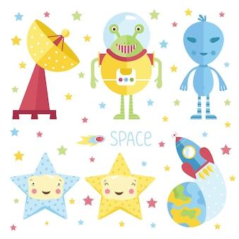 Illustrazioni di cartone animato sullo spazio