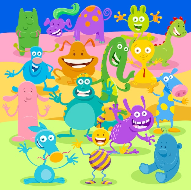 Illustrazioni di cartoni animati del gruppo di personaggi di fantasia