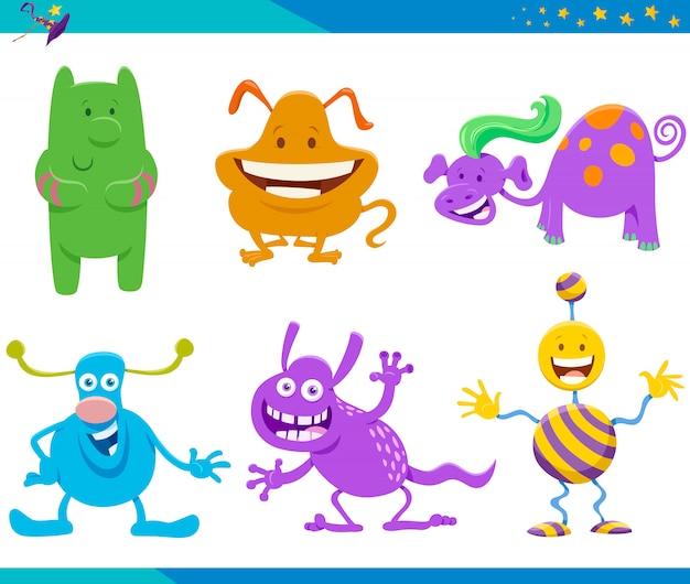 Illustrazioni di cartoni animati di personaggi divertenti fantasia impostati