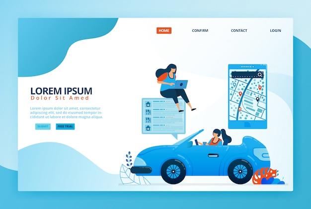 Illustrazioni di cartoni animati per la lettura delle indicazioni di navigazione mobile nelle app delle mappe. trova posizioni in base a sondaggi, valutazioni e livelli di soddisfazione.