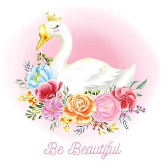 Illustrazioni di cigno bianco con fiori di acquerello