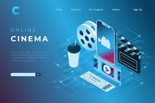 Illustrazioni di cinema online, guardare film con uno smartphone in stile isometrico 3d