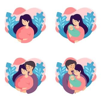 Illustrazioni di concetto di gravidanza e genitorialità. serie di scene con donna incinta, madre che tiene neonato, i futuri genitori si aspettano bambino, madre e padre che tengono il loro bambino appena nato.