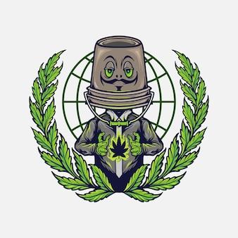 Illustrazioni di disegno di cannabis mascotte logo erbaccia