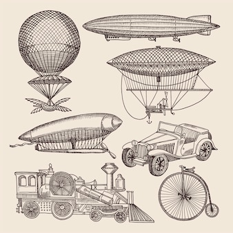 Illustrazioni di diversi trasporti retrò.