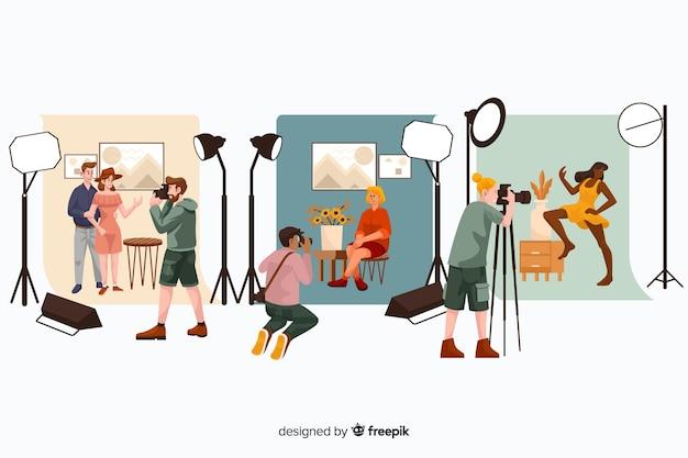 Illustrazioni di fotografi che fanno il loro set di lavoro