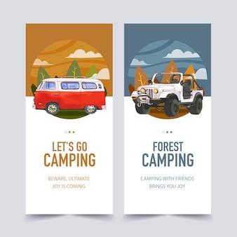 Illustrazioni di furgone, albero e jeep volantino campeggio.
