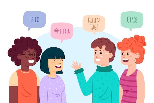 Illustrazioni di giovani che parlano nella raccolta di lingue diverse