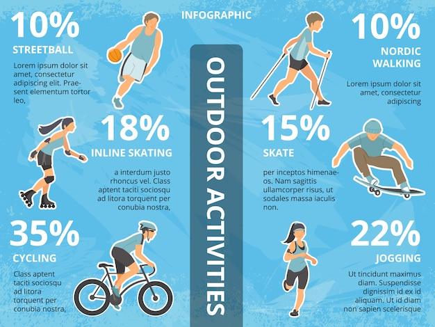 Illustrazioni di infographics di vettore con persone all'aperto