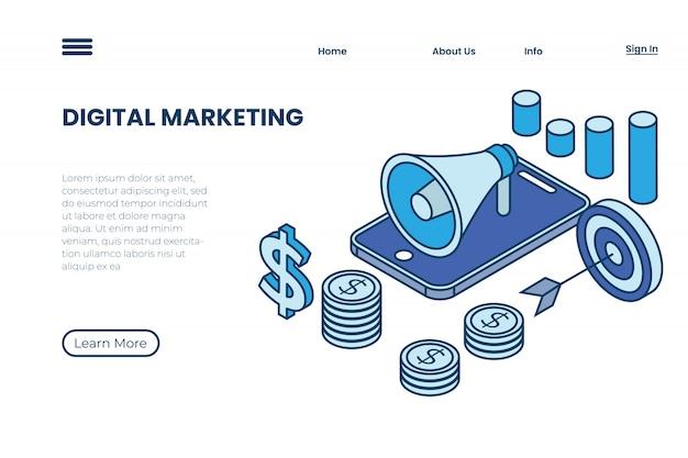 Illustrazioni di marketing digitale con concetti e contorni isometrici, illustrazioni di promozione del prodotto attraverso internet marketing
