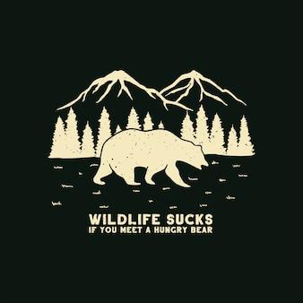 Illustrazioni di orso all'aperto