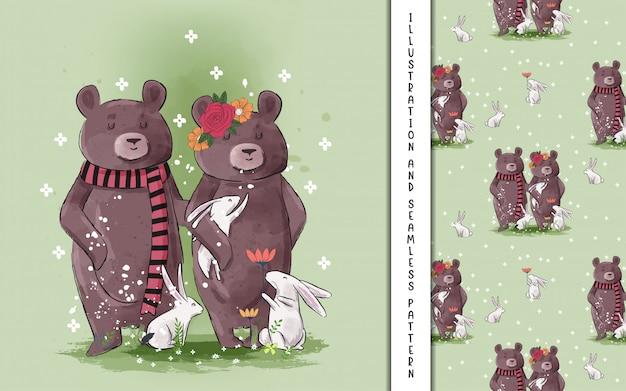 Illustrazioni di orso carino coppia per bambini