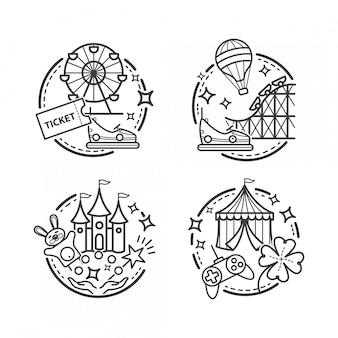 Illustrazioni di parco divertimenti, icone di contorno