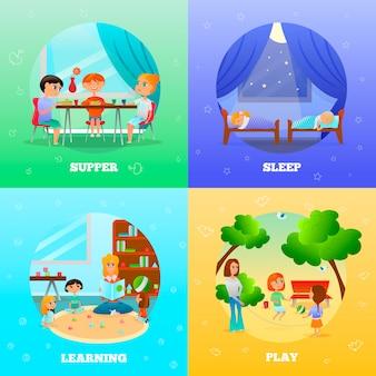 Illustrazioni di personaggi di scuola materna