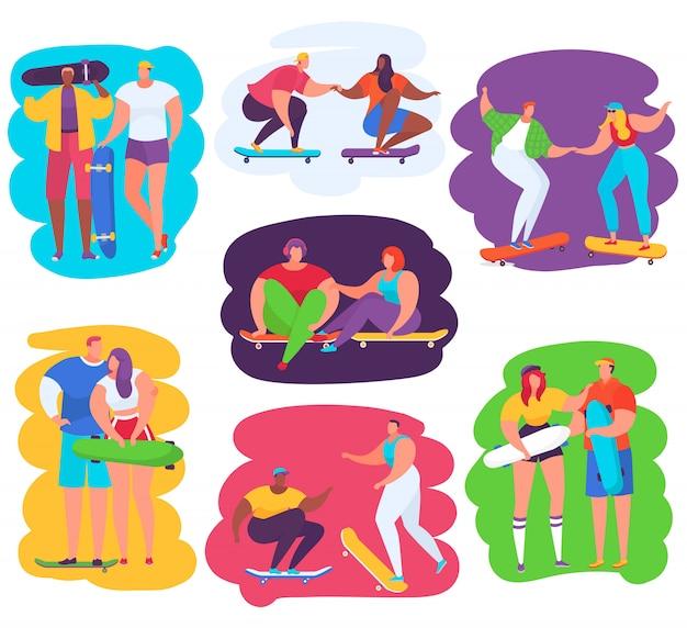 Illustrazioni di persone skateboard, personaggi adolescenti skateboard insieme, set di icone di attività sportiva