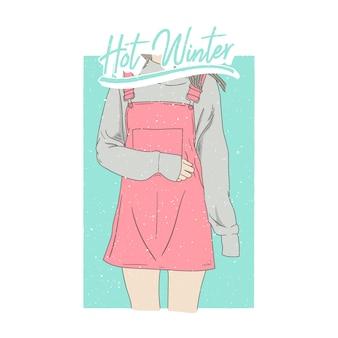 Illustrazioni di ragazza di moda inverno caldo