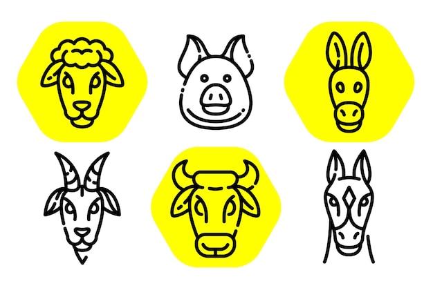 Illustrazioni di testa di contorno animale.