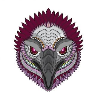 Illustrazioni di testa-vettoriale di uccello stilizzato avvoltoio zentangle
