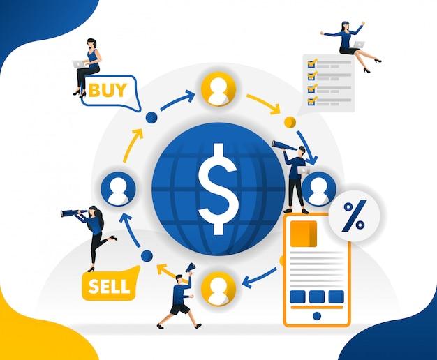 Illustrazioni di transazioni finanziarie trasferite, inviate, vendono e comprano nel mondo